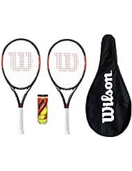 M D Trading Wilson 2x Federer Pro BLX Tennis Schläger mit 3Tennisbälle und Cover