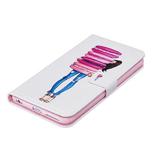 PU Pelle Custodia per iPhone 6S Plus (5.5 pollici), DaGeLon Flip Cover per iPhone 6 Plus Portafoglio Cassa con Funzione di Supporto e Slot per Schede Caso Protettivo Case Antiurto - ( Farfalla & Rosa  stile 1 - Hamburger Ragazza
