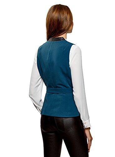 oodji Collection Damen Weste mit Gürtel und Kontrastverzierung aus Kunstleder Blau (7400N)