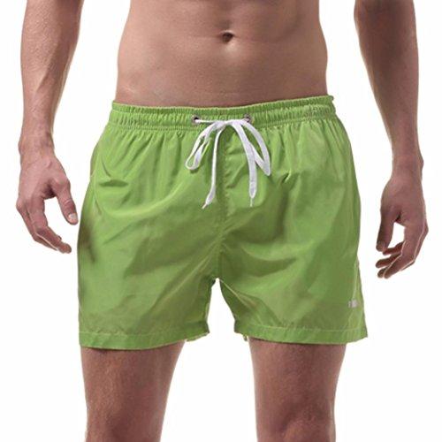 TUDUZ Herren Fitnesshose Shorts Badeshorts Sporthose Laufhose Schwimmhose für Männer (Grün, M(Taille:74-82cm)) (Nylon Tasche Kurze)