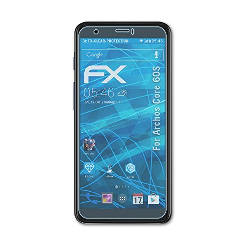 atFolix Schutzfolie kompatibel mit Archos Core 60S Folie, ultraklare FX Bildschirmschutzfolie (3X)