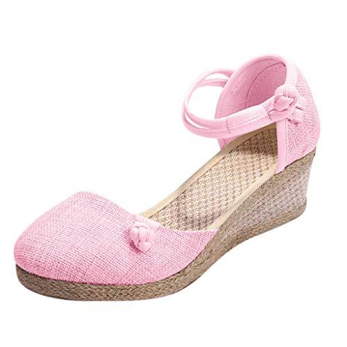 LUCKDE Sandalen Damen Sommer Sandalette mit Keilabsatz Comfort Riemchensandalen Keilsandaletten Schuhe High Heels Pumps -