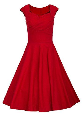MISSEUROUSDamen Sommerkleid 1950er Retro Cocktailkleid Faltenrock Abendkleider Farbe B