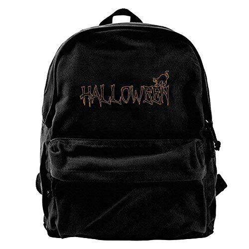HOJJP Schultasche Unisex Classic Canvas Backpack Name Halloween Unique Print Style,Fits 14 Inch Laptop,Durable,Black