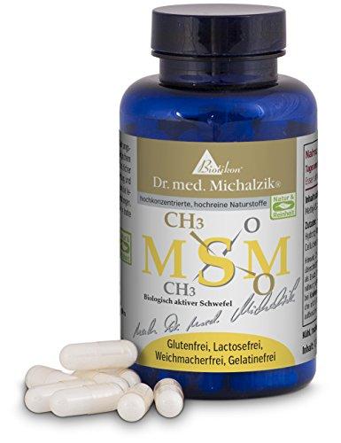 MSM nach Dr. med. Michalzik, 1200 mg reines MethylSulfonylMethan hochwertiger organisch gebundener Schwefel, geruchlos + frei von Zusätzen wie Magnesiumstearat + vegan + hochdosiert, 100 Kapseln