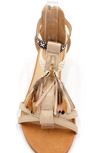 Ethno Boho Style Keilabsatz Sandalette Feder Fransen Quaste Holzperlen Damen Schuhe Festival (8458) Sand hellbeige