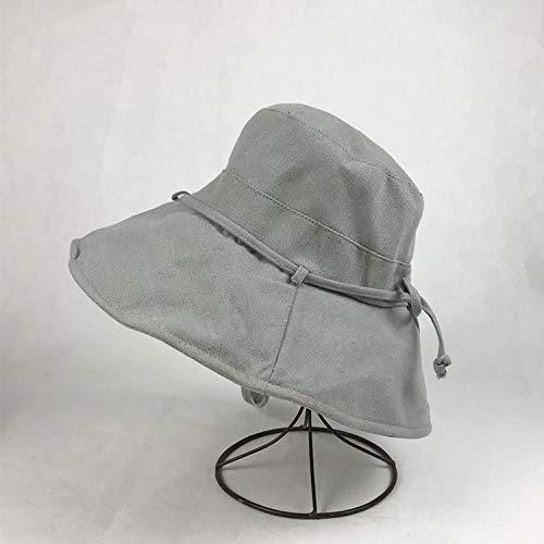 Nerd Weiblich Kostüm - mlpnko Hut Visier weiblichen Outdoor-Sonnenschutz Fischerhut Tuch Hut Falten einfarbig großen Hut Kappe grau einstellbar