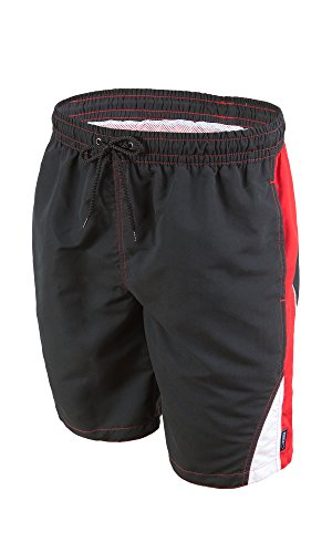 gWINNER ® Short de bain - Homme - Made in EU Noir/Rouge