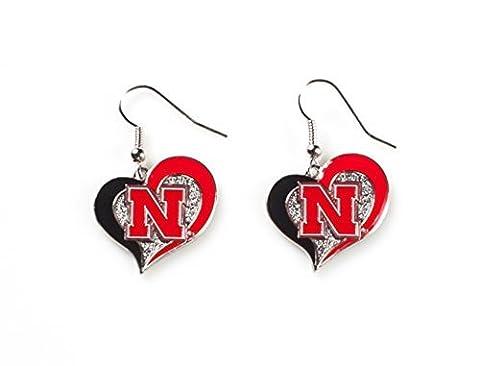 Licensed NCAA (HUSKERS) Nebraska Cornhuskers Collegiate Sports Team Logo Swirl Heart Shape Dangle Earring Set (Gift Box Included) by NCAA