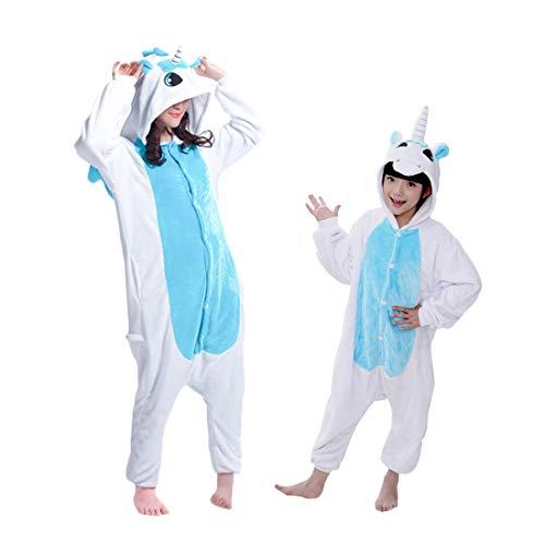 DEBAIJIA Kinder Flanell Jumpsuit Onesie Einhorn Kostüme Jungen Mädchen Tieranzüge Pyjama Tierkostüme Overall Blau - 105