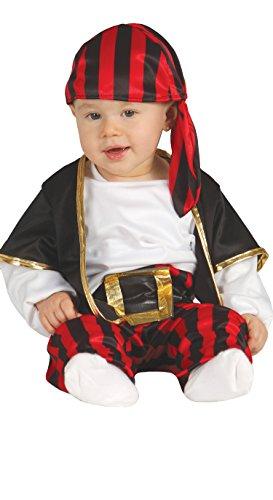 Guirca Corsaro Kostüm Baby Pirata Neonrand, Schwarz, Weiß und Rot, 6-12 Monate, 85560