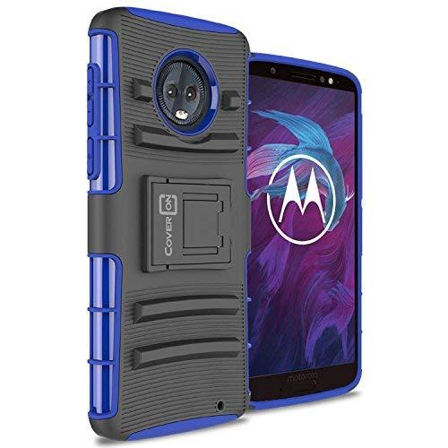 Moto G6Plus Holster Case, coveron [Explorer Series] Heavy Duty Ständer Handy, mit Gürtelclip Holster für Motorola Moto G6Plus, Blue on Black (Moto Phone Cricket G)