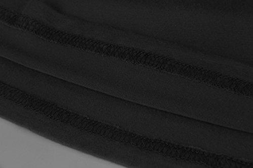 EasyMy Damen Kleid Tunika Casual T-Shirt Schulterfrei Cold-shoulder Schwarz