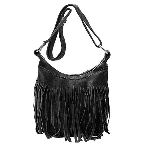 Borse a spalla , Borse a tracolla , sacchetto di frange ( 23/ 17/ 15 cm)in pelle Mod. 2063 by Fashion-Formel nero