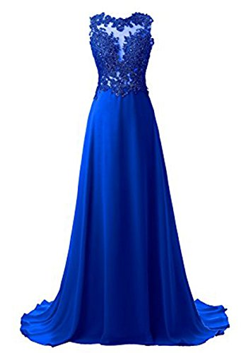 Vickyben Damen langes A-linie Pailetten Perlen Chiffon Abendkleid Hochzeit Kleid Ballkleid brautjungfer Kleid Party kleid Royal Blau
