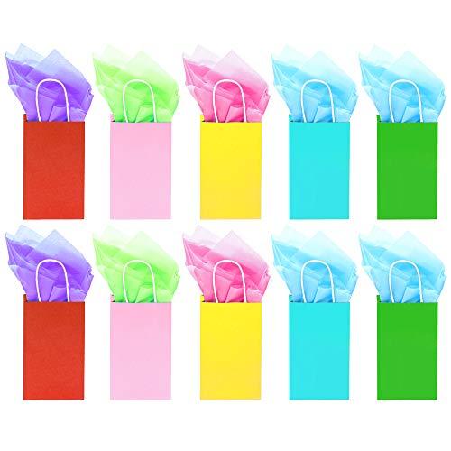 25 Papiertaschen Papiertüten Partytaschen Beutel mit griff - Mehrfarbig Perfekt für Kunst & Geschenktasche - Geburtstagsparty Gefälligkeiten, kinder party tüten, Hochzeit Gefälligkeiten und Feiern