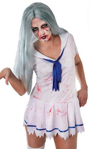 7Perücke Zombie Lady, grau/grün, One Size (Vampir Perücke Kind)