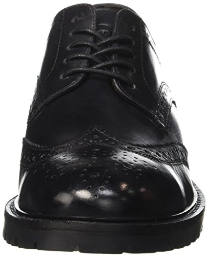 Base London Herren Trench Schnürhalbschuhe Schwarz - Noir (Washed Black)