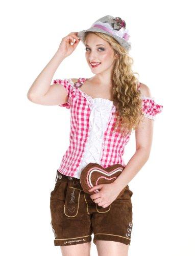 Trachtenbluse Damen mit Schnürung pink/weiß (Erwachsene Weiße Tiroler Kostüme)