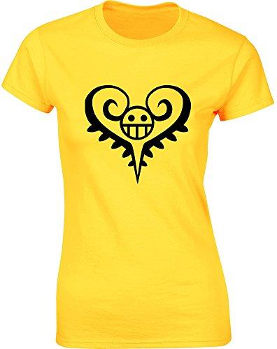 trafalgar-d-water-law-mesdames-t-shirt-imprime-daisy-jaune-noir-m-82-86cm