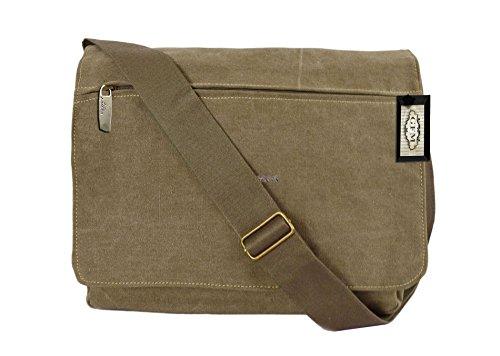 Seconds GFM -  Borsa Messenger classica in tessuto ideale per la scuola, per portare in  ufficio, in viaggio - Stile casual Small Size NEW BATCH - Khaki (#KH9613-NEW)