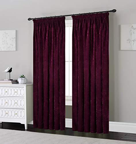 SLEEPDOWN Chenille-Vorhang, Bleistiftfalten, 100% Polyester, 100% Polyester, Pflaume, 169 x 137 cm -