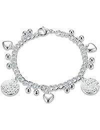 3ef0b3fe33 Aooaz Gioielli Braccialetto cuore per donna in acciaio inossidabile con  perle bianche