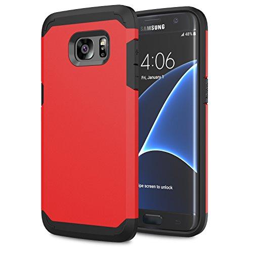 Moko galaxy s7 edge case - [serie armatura ibrido] [protezione dual layer] custodia angoli tecnologia a cuscino d'aria + paraurti per samsung galaxy s7 edge 5.5 inch smartphone 2016 release, rosso