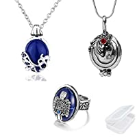 PPX Daywalking Katherine Necklace Pendant Charm Necklace-Royal Blue and Vampire Diaries Daylight Walking Signet Damon's Ring for Fans, with Transparent Box