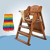 ZLMI Massivholz Baby Stuhl Multifunktionale Tragbare Klapp BB Hocker Essens Sitz 0-6 Jahre Alt (Verstellbare Höhe),Brown,A