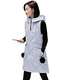 QHGstore Mujeres otoño y el invierno nuevo chaleco de algodón de plumas en la sección larga de espesamiento chaqueta de color sólido sin mangas de color sólido gris L