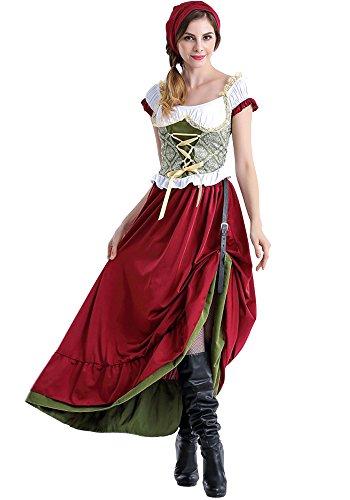 BOZEVON Damen Dirndl-Kleid, Oktoberfest-Kostüm, Deutsch-Bayerische Tracht, Schicke Kleider, Dirndl-Rock