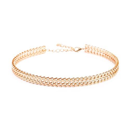 MingJun Tattoo Gothic Einzigartige Form Choker Handmade Gold Kette Mode Klassische Länge Verstellbare Halskette für Frauen Mädchen Teens