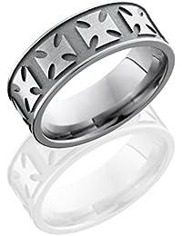 Titanium, Maltese Engraved Satin Sandblasted Wedding Band (sz H to Z1)