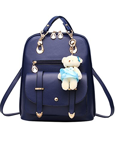 Menschwear PU Zaino Satchel Daypack sacchetto di scuola Rosa Diamante Blu