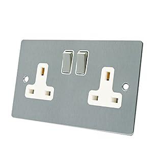 AET FSC2GSOCWS Satin Chrome Flat 2 Gang White Insert Metal Rocker Switches-13 Amp Double Plug Socket