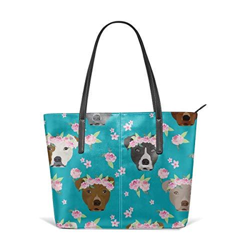 Damen Tasche aus weichem Leder Schultertasche Pitbull Flower Crown Hund Flower Dogs Floral Pitbulls Pitbull Teal Fashion Handtaschen Satchel Purse