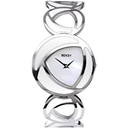 Seksy Wrist Wear by Sekonda Women's Quartz Watch with Mother of Pearl Dial Analogue Display and White Stainless Steel Bracelet 4531.37