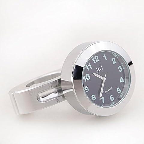 KKmoon Reloj Dial para Manillar Harley Chopper Touring Motocicleta Moto, Plateado / Negro, 0.9 Pulgadas de Montaje