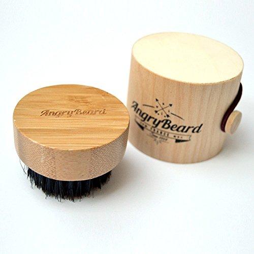 Brosse à barbe pour homme - Brosse à barbe ronde - Petit En bois Sauvage Brosse à poils de sanglier avec Boîte à barbe en bois - Brosse de toilettage de barbe pour le coiffage, le ramollissement et le conditionnement