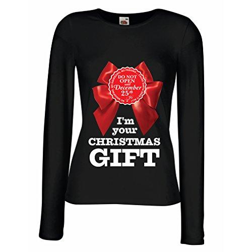 Weibliche langen Ärmeln T-Shirt Geschenkideen zu Weihnachten Schwarz Mehrfarben