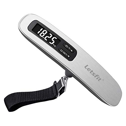 Letsfit Digital Luggage Scale, 110lbs/50kg Hanging Baggage Scale with Backlit LCD Display, Tare Function, Portable Suitcase Weighing Scale, Travel Scale with Hook, Strong Straps for Travelers