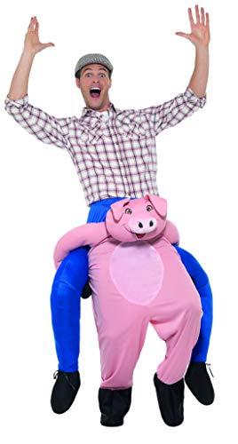 Halloweenia - Herren Männer Huckepack Piggyback Kostüm, Schwein Pig Ferkel trögt Dich Bauer, Einteiler Overall Jumpsuit, perfekt für Karneval, Fasching und Fastnacht, One Size, Rosa (Verkleiden Kostüme Bauer)
