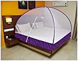 OnlineTree Double Bed Foldable Mosquito Net (Violet) (Size-6 * 6 feet) with Bag