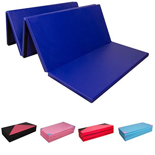 CCLIFE 300x118x5cm Klappbare Weichbodenmatte Turnmatte Fitnessmatte Gymnastikmatte rutschfeste Sportmatte Spielmatte, Farbe:Blau 4-Fach faltbar