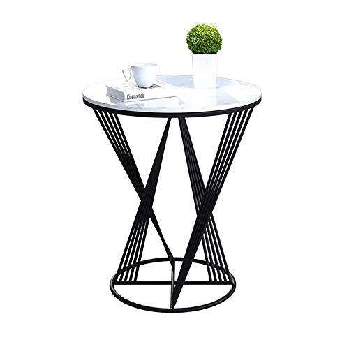 YueQiSong Marmor Wohnzimmer Sofa Beistelltisch Nordic Schmiedeeisen Beistelltisch Kleiner Couchtisch Licht Wohnzimmer Ecktisch, Schwarz, 60 * 70 cm -