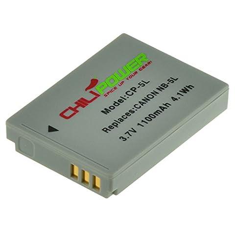 ChiliPower NB-5L Batterie (1100mAh) pour Canon Powershot S100, S110, SD700 IS, SD790 IS, SD800 IS, SD850 IS, SD870 IS, SD880 IS, SD890 IS, SD900 IS, SD950 IS, SD970 IS, SD990 IS, SX200 IS, SX210 IS, SX220 IS, SX230 HS