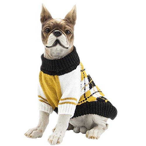 n Kleidung Haustier Halloween Warme Gestrickte Pullover Gelb XL (Große Aktuellen Halloween Kostüme)