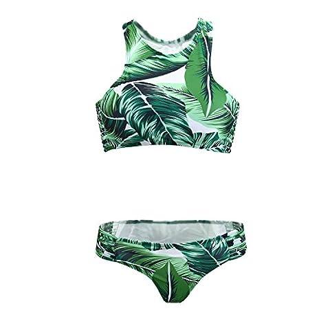 UTOVME Strand Damen Grün-Blätter-Druck mit Neckholder Push Up Bikini-gesetzter Badeanzug M Größe