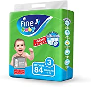 Fine Baby Double Lock, Size 3, Medium, 4-9 kg, Mega Pack, 84 Diapers